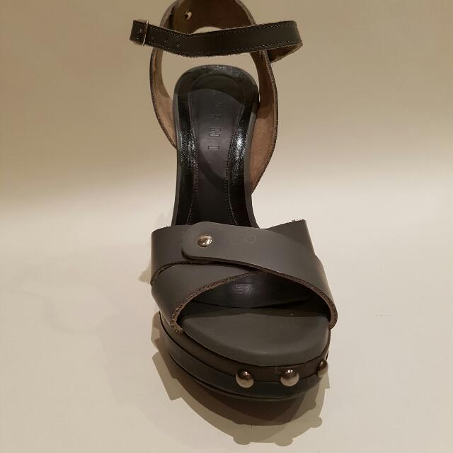 Marni Heels Leather 36 Grey Brown