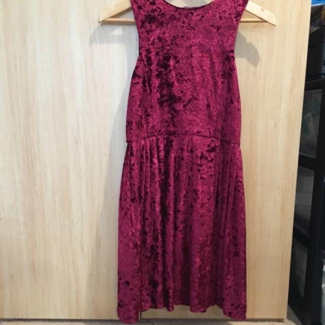 Maroon Velvet Dress Size Medium