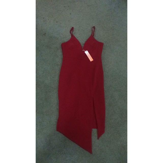 Maroon/dark Red Blossom Dress