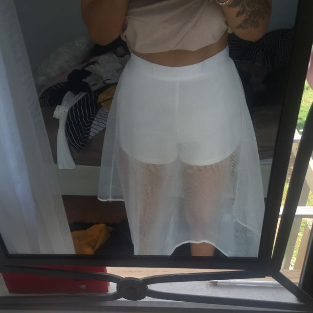 Mesh A Line Skirt With Shorts Underneath