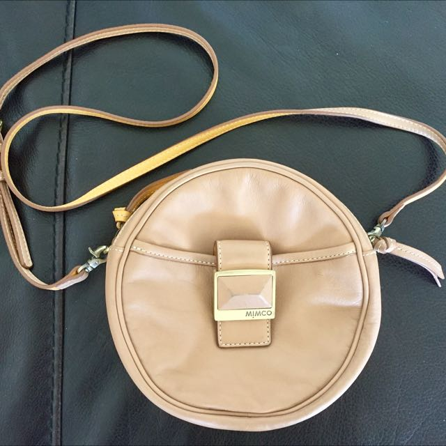 Mimco Cross Body Bag, Genuine Leather, Tan / Yellow