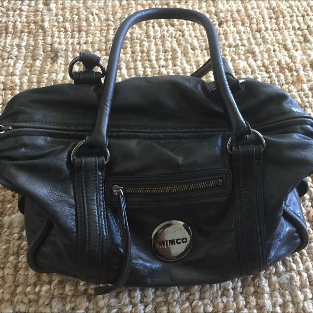 Mimco, Genuine Leather, Black Handbag