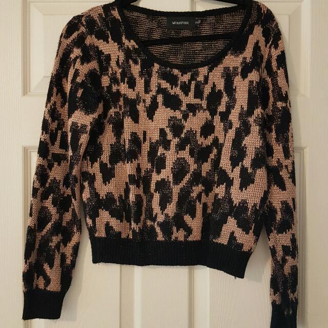 Mink Pink Crop Leopard Knit Jumper Size S
