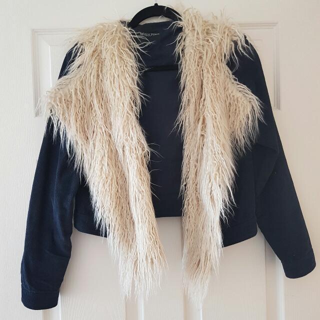 Make An Offer! Mink Pink Navy Blue Fur Jacket Size XXS
