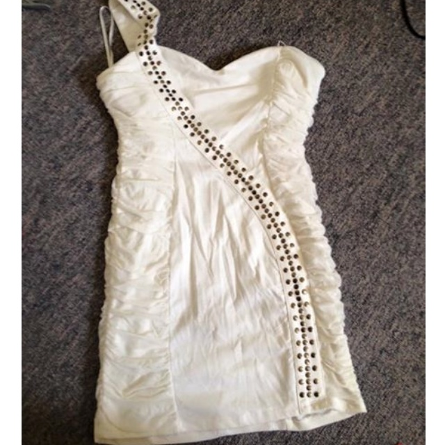 One shouldered white Mink dress size 14