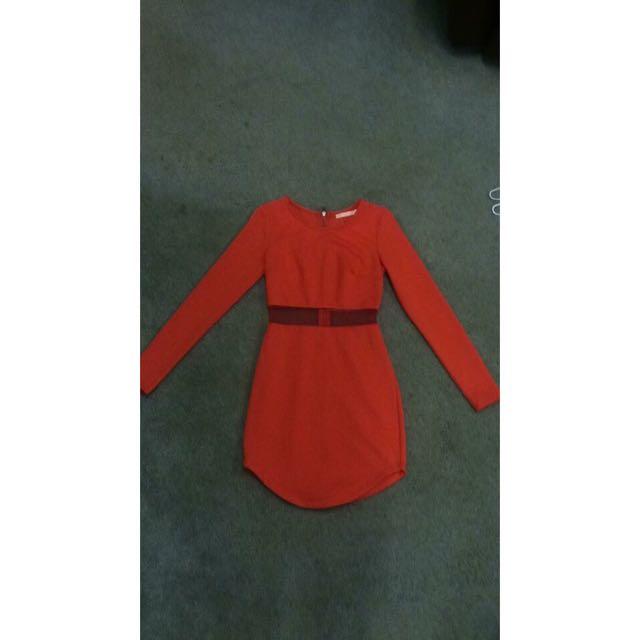 Orange Paradisco Long Sleeve Dress