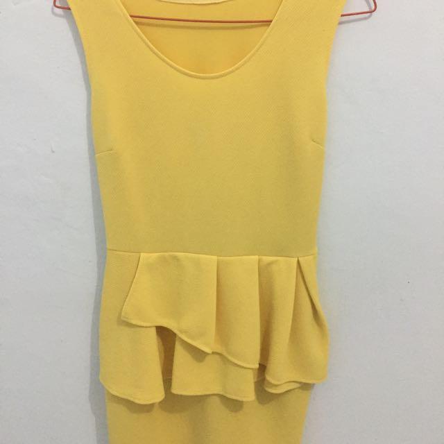 Peplum Yellow Dress
