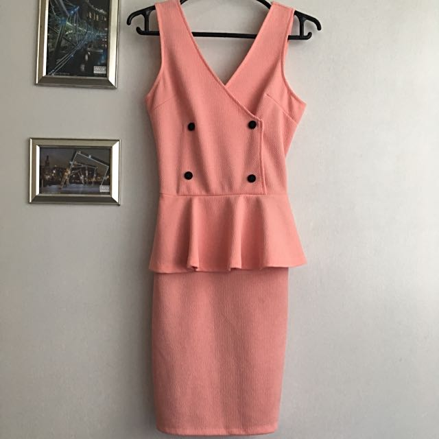 Pink Peach Peplum Dress