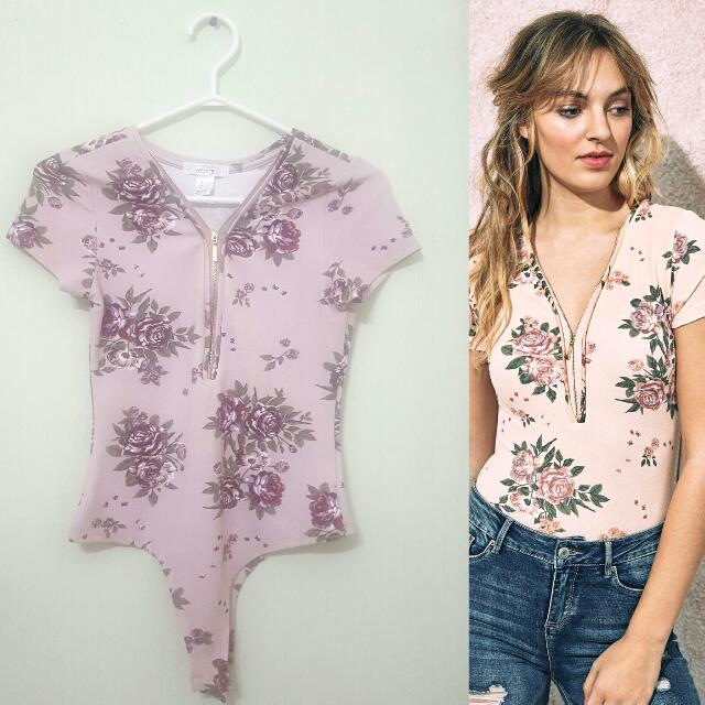 Purple Floral Bodysuit