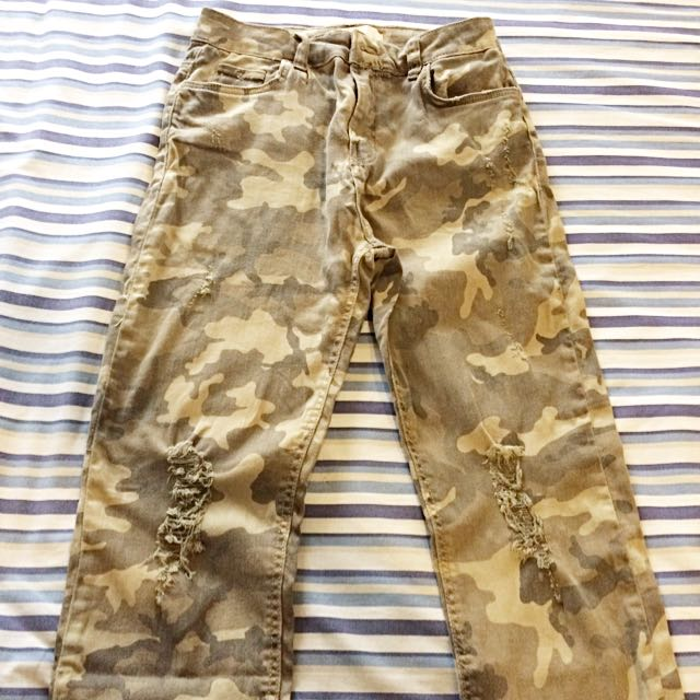 Bershka Ripped Camo Pants