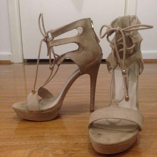 Sexy Beige Tie Up Heels