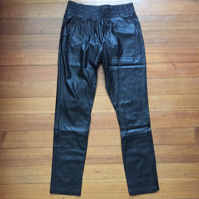SPORTSGIRL PU Black Leather Joggers Pants