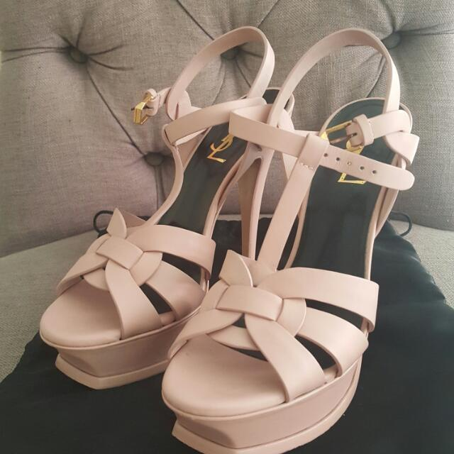 Used Twice Ysl Tribute In Nude Pink Ghw Higher Heels With Dustbag No Box No  Receipt Size 38 4100535a0
