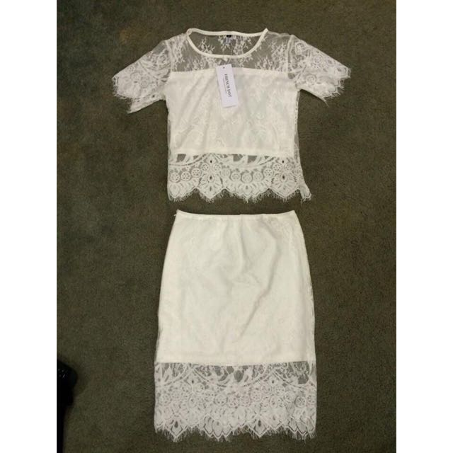 White French Dot top and skirt set
