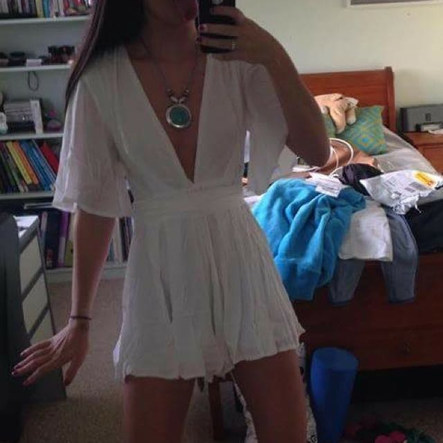 White Playsuit Small Size 6