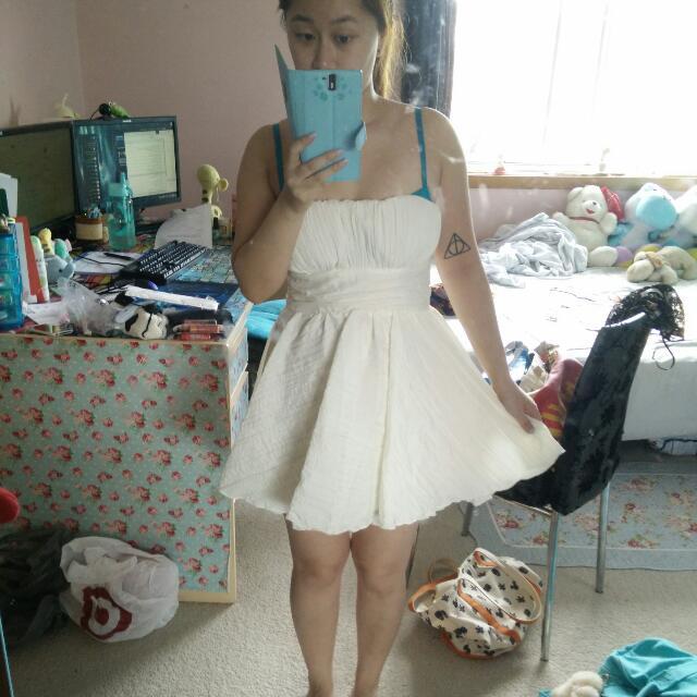 White Puffy Strapless Dress