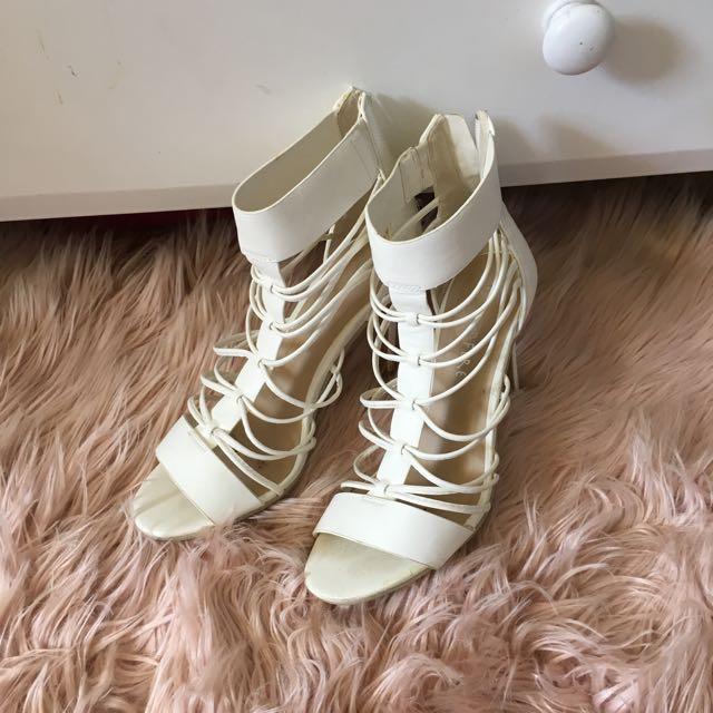 White Strappy Heels Size 8
