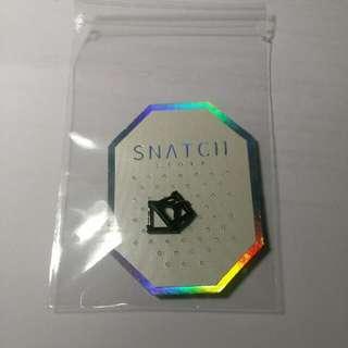 SNATCH  1.6cm 小四方圈耳環 黑
