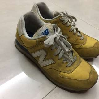New Balance/鵝黃/運動鞋/藍邊