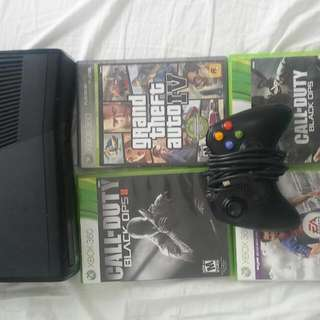 Mint Condition Xbox 360 Console With All Its Wires, 4 Games And A Wired Controller