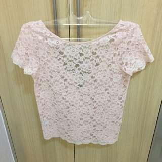 Mango MNG Suit Lace Top Pink
