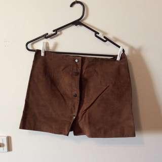 Brown Faux Leather/velvet Skirt