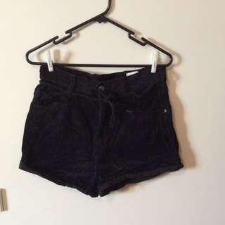 Monki Velvet High Waisted Shorts - Size XS