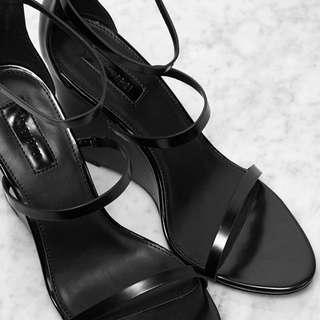 F21 Black Wedge Heels