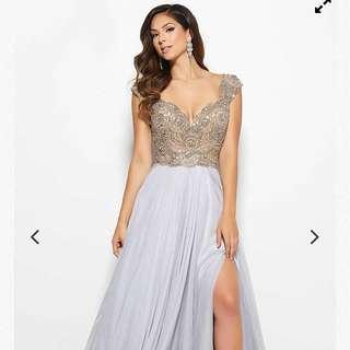 PROM DRESS-Silver Silk Beaded V Neck Dress