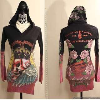 Christian Audigier Black Jeweled Skull Hoodie