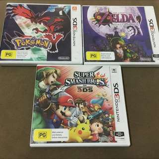 Nintendo 3DS Games Pokemon+ Zelda + Smash Bros