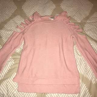 Forever 21 Pink Knit With Shoulder Cuts