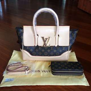 LV Leather Bag Gold Hardware With Double Zippy Wallet