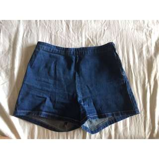Subtitled Denim High Waisted Shorts
