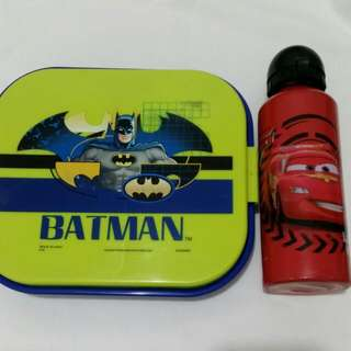 FREE LIGHTNING MCQUEEN Water BOTTLE 😊 Batman Lunch Box
