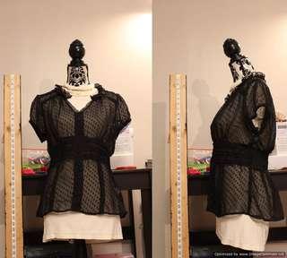 Suzy Shier Black Collared Dress Shirt
