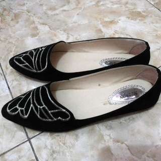 Black Flatshoes With Butterfly Motif