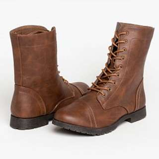 Brown Combat Boots Size6