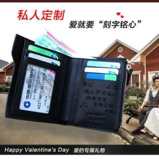 PO customized wallet for him valentine day gift