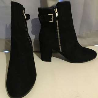 Black Boots With Silver Zip And Buckle