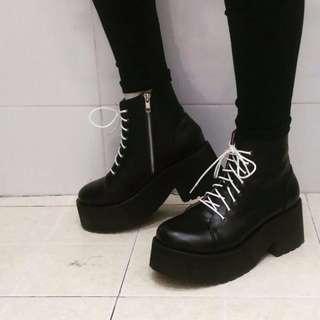 韓版原宿暗黑風厚底騎士靴