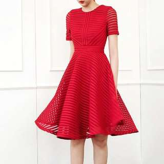 BN Doublewoot Inspired Maje Honeycomb Mesh Fit & Flare Dress in Chilli Red