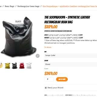 Doob Large sized synthetic leather rectangular bean bag