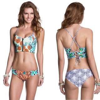 C. two piece pineapple design floral swimsuit
