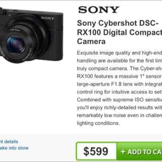 Sony Cybershot DSC-RX100 DIGITAL COMPACT CAMERA