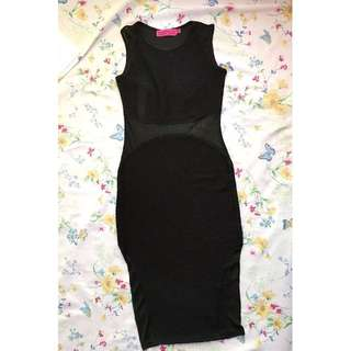 BOOHOO BLACK FITTED DRESS