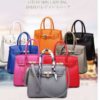 Classic Designer Collection PU Leather Pebble / Croc Print Top Handle Luxury Inspired Togo Birkin / Kelly Handbag Tote