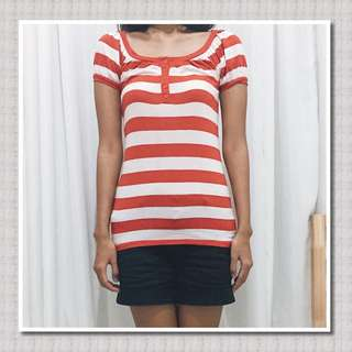 (REPRICE) Forever 21 Stripe Buttoned Tshirt