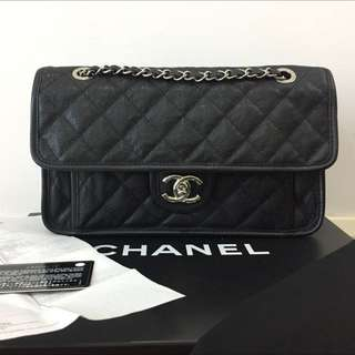 Chanel French Riviera Medium Flap Bag Caviar SHW Authentic