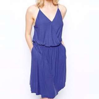 Just Female Blue Modal Wrap Dress ASOS